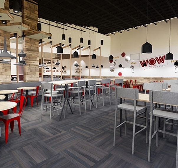 Rendering of the new American Eats location decor showing tables, chairs, and wall art