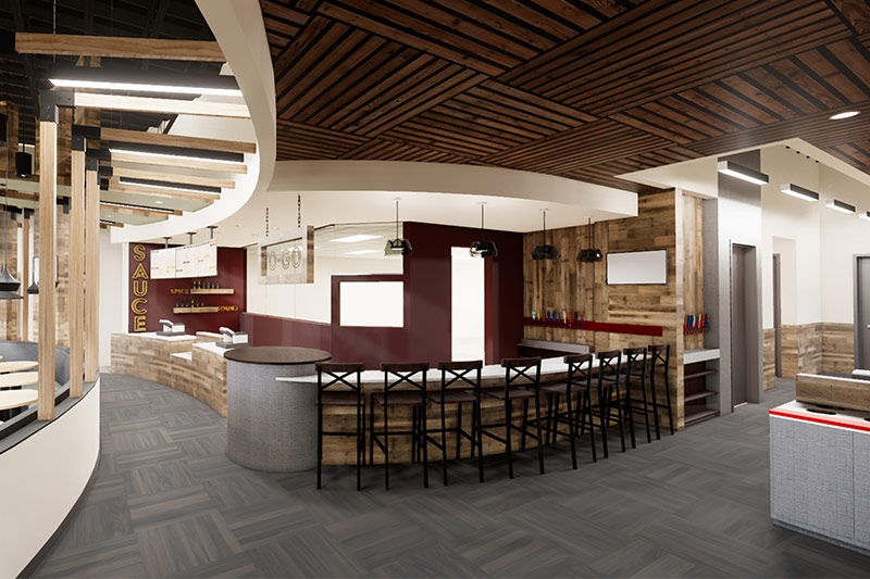 Rendering of new WOW American Eats showing the inside bar and bathroom area