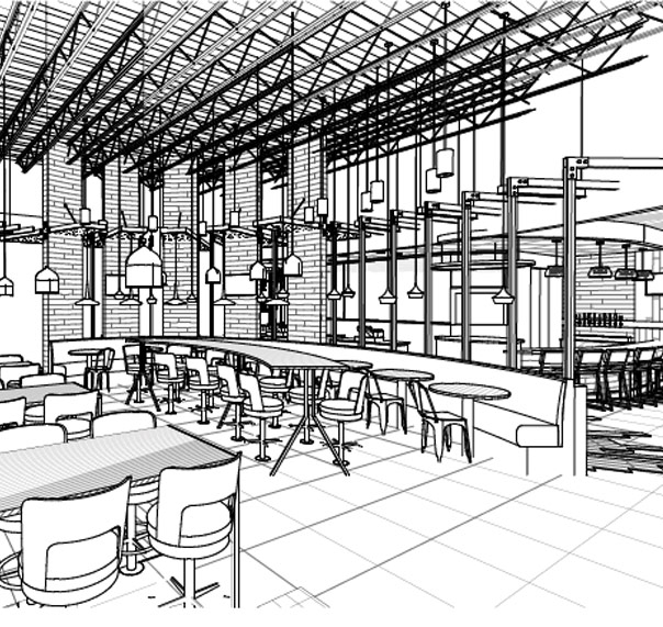 WOW American Eats store rendering of dining area