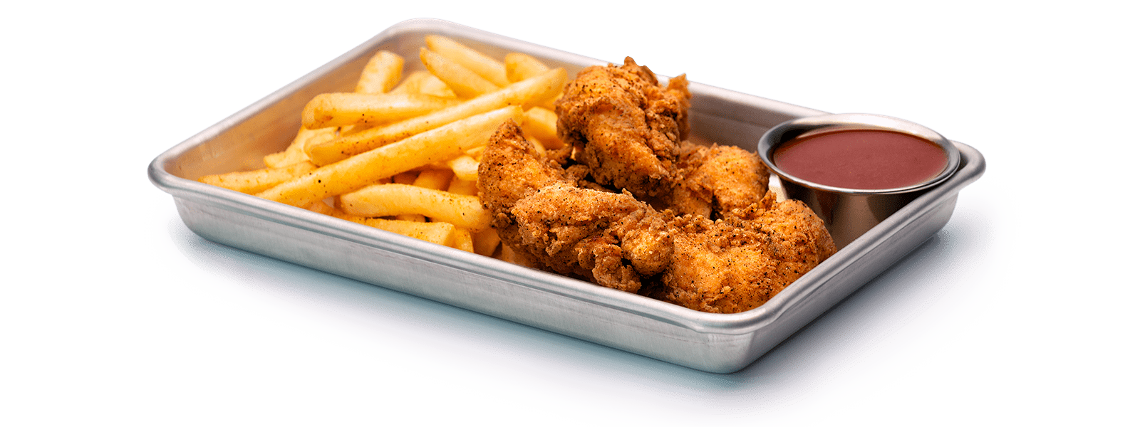 Chicken Tenders on platter with sauce